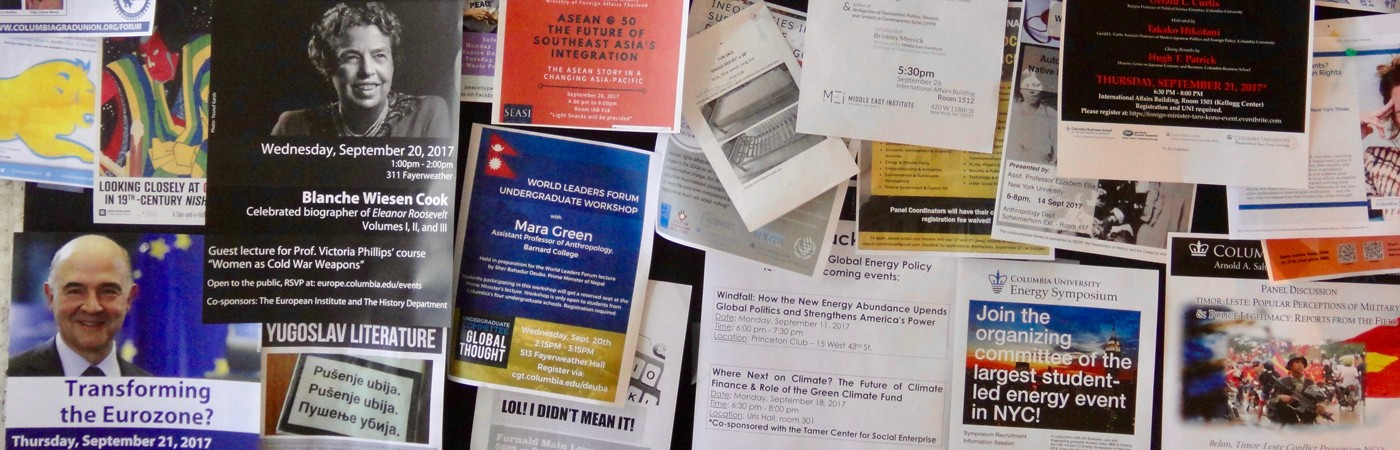 A wall of colorful flyers for different events at Columbia University
